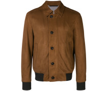 front button leather jacket