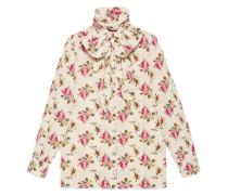 Hemd aus Seide mit Rosen-Print