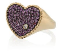 18kt 'Heart' Goldring mit Diamanten