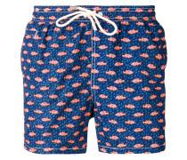 fish print drawstring shorts