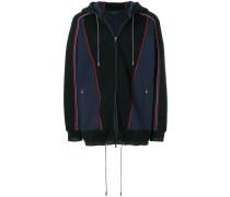 panelled zip front hoodie