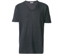 Lockeres Leinen-T-Shirt mit V-Ausschnitt