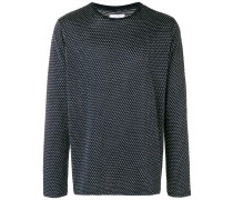 pointelle textured long sleeve crew neck shirt