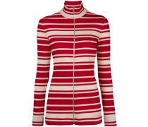 striped rib knit turtleneck cardigan