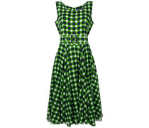 flared check dress