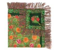 floral print fringe scarf