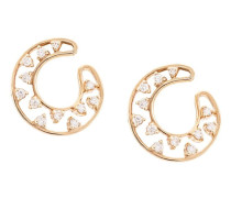 14kt rose gold small diamond front hoop earrings