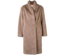 Faux-Fur-Mantel ohne Kragen
