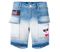 patch-appliqué denim shorts