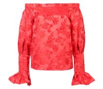 Schulterfreie Bluse mit floraler Musterung