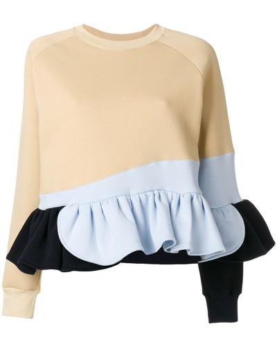 Gerüschtes Sweatshirt in Colour-Block-Optik