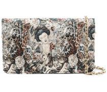 Geisha embroidered pattern clutch