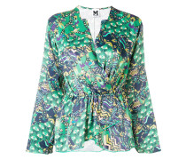 abstract print wrap blouse