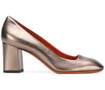 metallic block-heel pumps