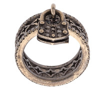 18kt gold padlock charm ring