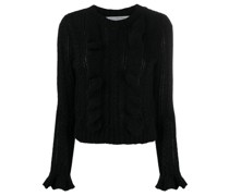 ruffle-trimmed knitted jumper