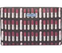 Clutch mit Lippenstift-Print