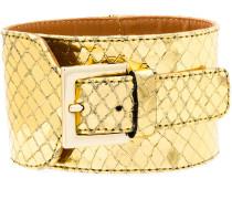 snakeskin effect buckled bracelet