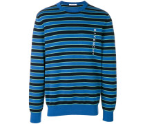 logo embroidered striped sweater
