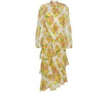Golden tiered ruffle floral print midi dress