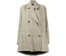 checked double breasted swing coat