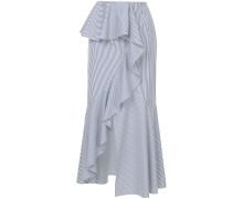 striped asymmetric ruffle midi skirt