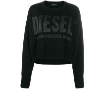 Kurzer Intarsien-Pullover mit Logo