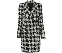 Tweed-Mantel mit Hahnentrittmuster