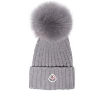 Grey wool beanie hat with pom pom