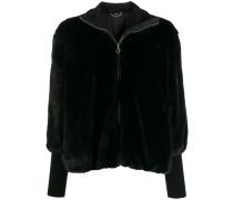 Faux-Fur-Jacke mit Logo-Streifen