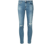 distressed leg five-pocket cropped skinny jeans