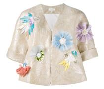 Jacke mit floralen Applikationen