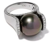 18kt 'Twilight' Weißgoldring mit Tahiti-Perle