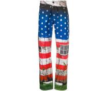 Gerade Jeans mit US-Flaggen-Print