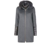 Mantel im Lagen-Look mit Pelzbesatz