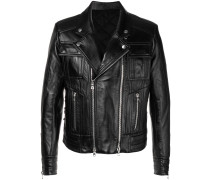 slim-fitted leather jacket