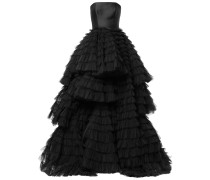 frill-layered flared gown