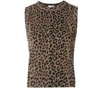 Jacquard-Top mit Leoparden-Print