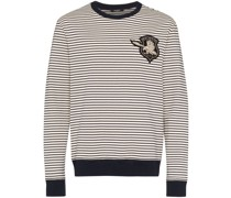 Gestreiftes Sweatshirt mit Logo-Patch