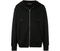 skull print zipped hoodie