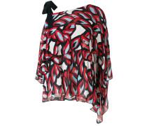 abstract print asymmetric blouse