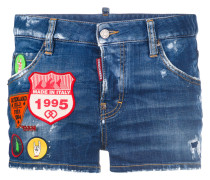 Kurze Jeans-Shorts mit Patches