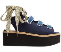 Flatform-Sandalen mit Schnürung
