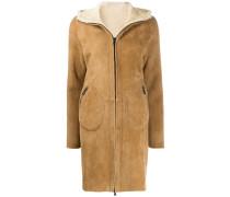 Shearling-Mantel mit Reißverschluss