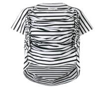 Gerafftes T-Shirt mit Streifen