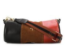 Zylinderförmige Schultertasche aus Leder und Wildleder