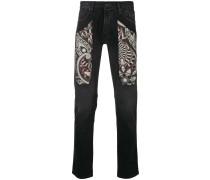 Schmale Jeans mit bedruckten Einsätzen