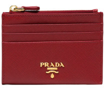 red Safiano zip leather cardholder