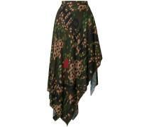 camouflage asymmetric hem skirt