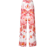 underwater print wide leg trousers